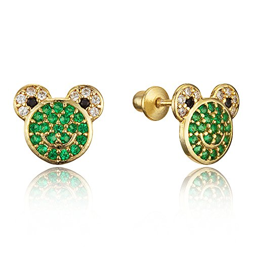 14k Gold Plated Brass Frog Cubic Zirconia Screwback Baby Girls Earrings with Sterling Silver Post 14k Gold Frog