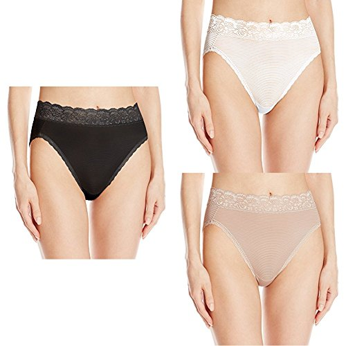 Vanity Fair Women's Flattering Lace Hi Cut Panty 13280, Midnight Black Novelty/Star White Novelty/Toasted Coconut Novelty, X-Large/8
