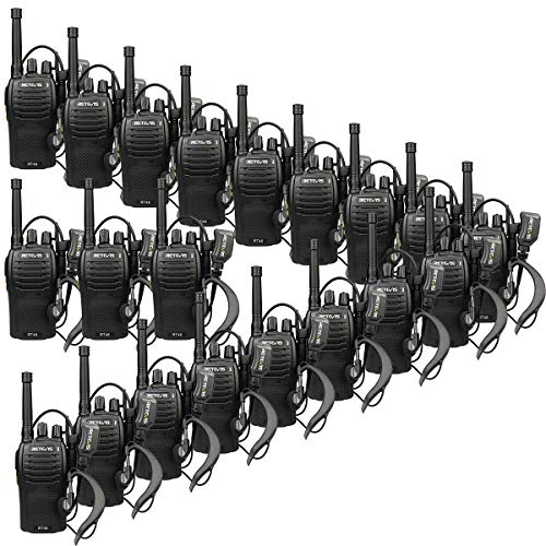 Retevis RT46 2 Way Radios Long Range Rechargeable Dual Power FRS Emergency Alarm VOX Hands Free Walkie Talkies with Earpiece and USB Charger (20 Pack) ()