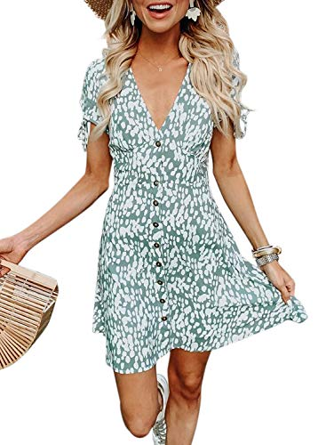 FIYOTE Women Casual Loose Fit V Neck Tshirt Dress Short Sleeve Swing Tunic Shift Dresses Short Large Size Green