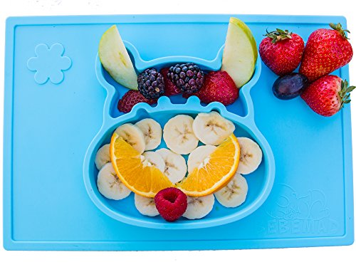 Ez Mat (Silicone placemat and baby plate tray for infants toddlers and kids - these portable hippo happy mats one piece bowl suctions and fits to most tables highchair non slip baby feeding FDA Approved .)