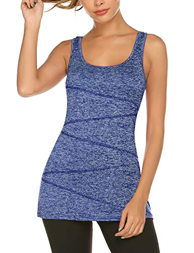 - LOMON Stretchy Activewear Tops Running Racerback Tunic Tank Ladies Scoop Neck Flowy Loose Fit Dressy Tank Top Athletic Sports Wear Blue L