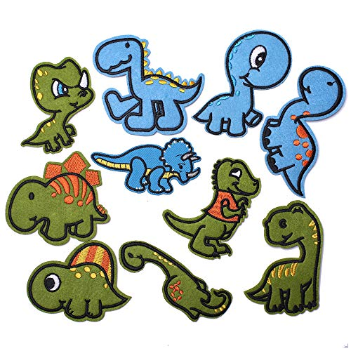 SHELCUP Cool Embroidered Iron on Patches, for Jackets, Packs, Jeans, Assorted Styles, Dinosours 10pcs