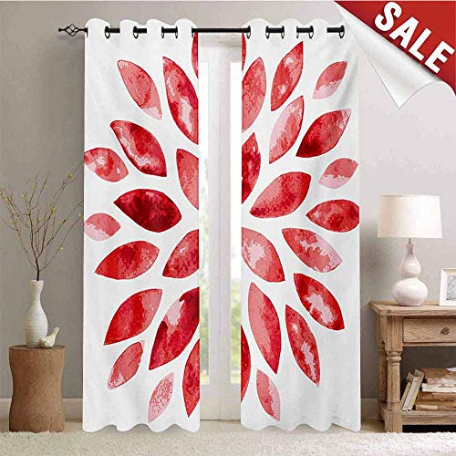 (Hengshu Floral Customized Curtains Watercolor Style Flower Buds Petals Nature Beauty Blossom Artistic Boho Flourish Print Window Curtain Drape W84 x L108 Inch Ruby Red)