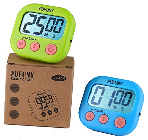 - PUFUNY Digital Kitchen Timer,Cooking Timer,Large Display,Strong Magnet Back,Loud Alarm,Stand,for Cooking Baking Sports Games Office,User Guide Included,2 Pack(Blue and Green)