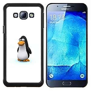 KLONGSHOP // Cubierta de piel con cierre a presión Shell trasero duro de goma Protección Caso - Pingüino divertido lindo - Samsung Galaxy A8 A8000 //