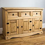 Home Discount Corona 3-Door 3-Drawer Sideboard Solid Waxed Pine Mexican Furniture