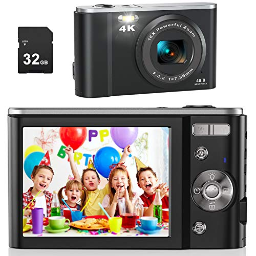 AiTechny 4K Digital Camera Vlogging Camcorder 48MP Compact Camera with 32GB SD Card, 16X Digital Zoom, Rechargeable Mini…