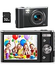"$89 » Digital Camera for Photography Beginners, AiTechny 4K 44MP Vlogging Camera with 32GB SD Card, 2.8"" IPS LCD Screen,16X Digital Zoom Point and Shoot Compact Camera for Kids Adults Beginners"