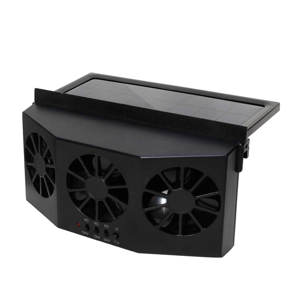 elegantstunning Portatile Ventilatore per Auto con 3 ventole di Raffreddamento a energia Solare Sicuro