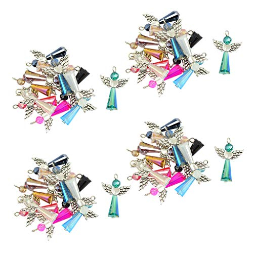 Prettyia 48 Pieces Multicolors Vintage Fairy Angel Charms Pendants Faceted Glass Beads Antiqued Silver Wings Dangle for DIY Wedding Gift Jewelry Hanging Craft