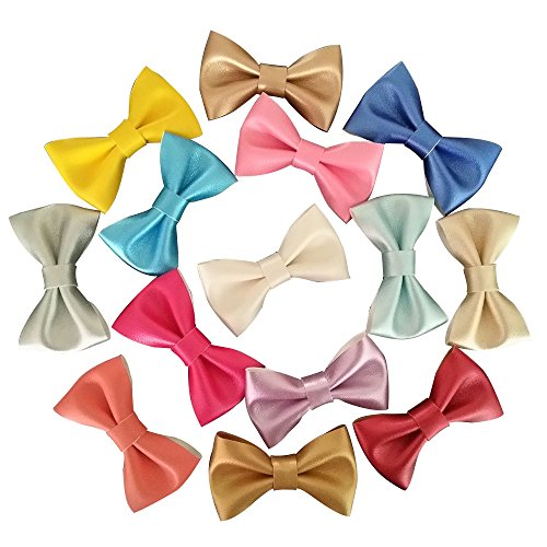 Yazon Metallic Color 2.8'' Leather Bows Hair Clips Baby Kid's Hair Bows With Clips 18pcs mix 18 color