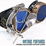Enjoy Your Steampunk Victorian Style Goggles with Compass Design, Azure Blue Lenses & Ocular Loupe 8