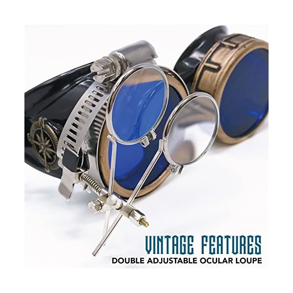 Enjoy Your Steampunk Victorian Style Goggles with Compass Design, Azure Blue Lenses & Ocular Loupe 5
