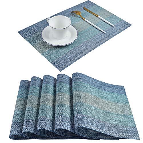 Homcomoda Place Mats Washable PVC Dining Table Mats Non-slip Heat-resistant Vinyl Placemats Set of 6(Blue) -