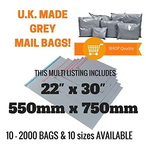 10 x Grey Recycled Polythene Mailing Bags - 550 x 750mm (22' x 30') - Post Plastic Polybag Poly Strong Self Seal Packaging Products Online