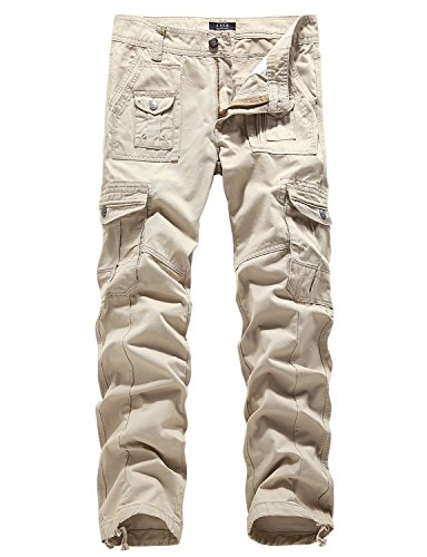 SSLR Men's Military Operator Tactical Flat Front Classic Fit Casual Cargo Pants (29, Khaki)