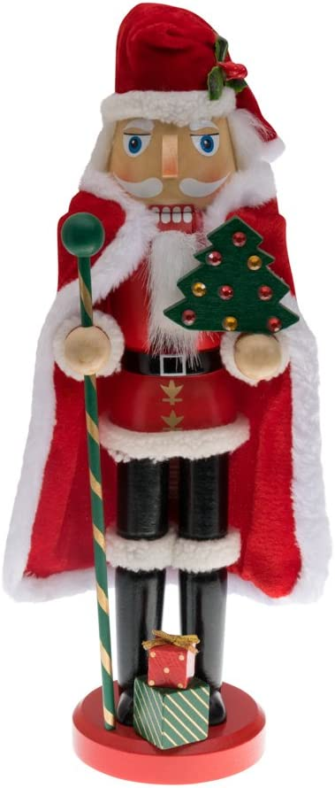 Clever Creations Traditional Wooden Santa Claus Christmas Nutcracker Collectible Santa in Red Fur Trimmed Coat and Cape  Festive Holiday Décor   Holding Tree & Staff   100% Wood   13? Tall