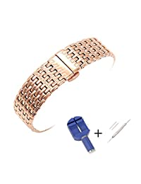 ViuiDueTure 20mm 22mm High-End 316L Stainless Steel Straight End Link Bracelet Watch Band Replacement Strap (20mm, Rose Gold)