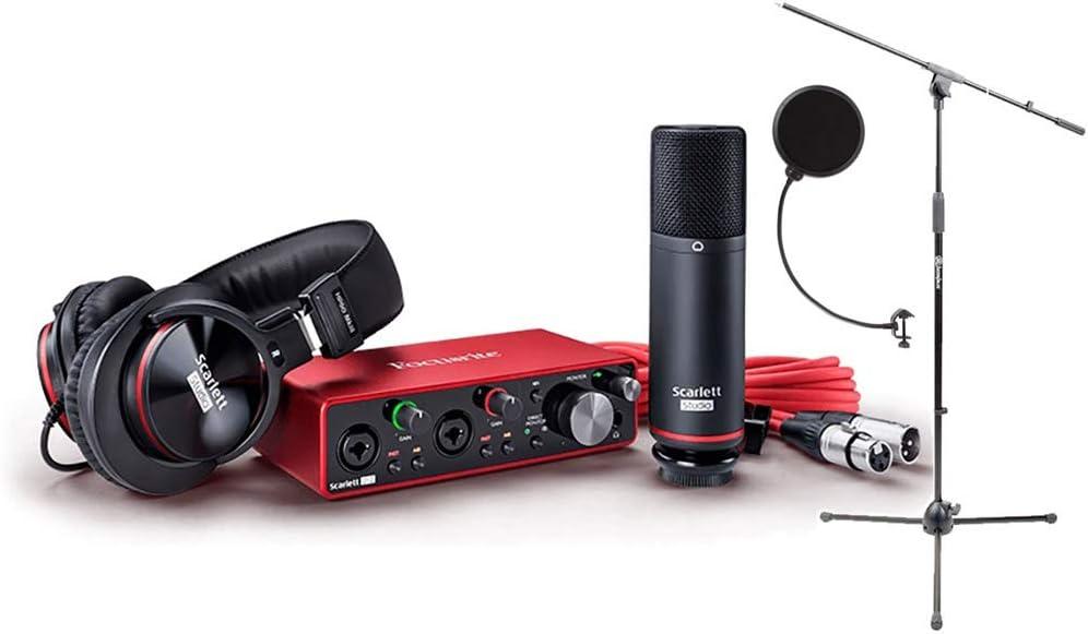 Focusrite SCARLETTStudio Pack w/CM25 Micrófono, auriculares, 2i2, Cubase LE 6 interfaz: Mic Cable, Boom Stand, y Pop Filter: Amazon.es: Instrumentos musicales