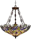 Cheap Floral Garden 3-Light Tiffany Glass Bowl Pendant