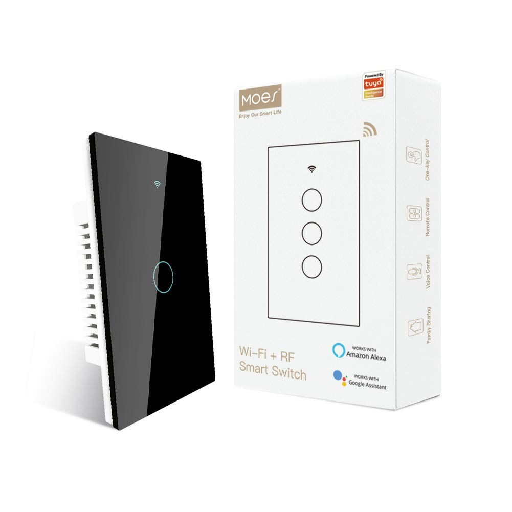 MOES 2nd Generation WiFi RF433 Touch Wall Single Wire Smart Switch,No Neutral Wire Needed Compatible with Smart Life/Tuya App, Compatible with Alexa and Google Home Single Pole 110V Black 1 Gang