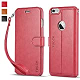 iPhone 6s Plus Case iPhone 6 Plus Case, TUCCH® iPhone 6s Plus/ 6 Plus Wallet Case, Premium PU Leather Flip Cover with Detachable Wrist Strap, Stand, Card Slots and Magnetic Clasp - Red