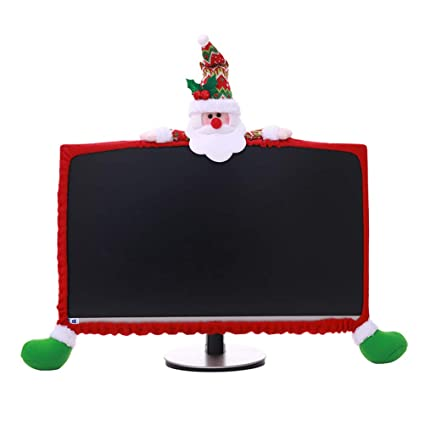 bestoyard 25 35inch christmas computer monitor border cover santa claus computer protection cover elastic for