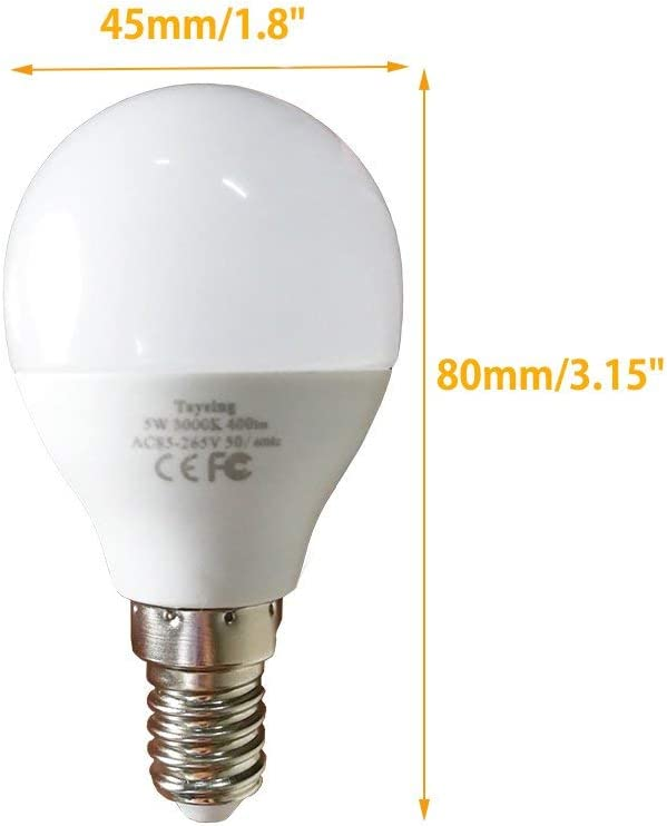 Renewed LED G14 Small Base Light Bulb E12 5W Daylight White 5000K Not Dimmable LED Energy Saving Light Bulbs 40 Watt Equivalent Candelabra Bulb for Home Ceiling Fan 6 Pack 5W-E12-Daylight-5000K