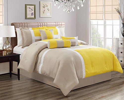 GrandLinen 5 Piece Oversize Yellow/Grey Patchwork All-Season Comforter set Twin Size Microfiber Emma Bedding (Comforter Set Twin Emma)