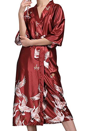 Vdual Camicia Vestaglie Lussuoso Stile Colori Notte Robe damigella Donna Raso notte d'onore Kimono Kimono Vestaglia da Accappatoio Pigiam 3 Sleepwear da rWqrF4n