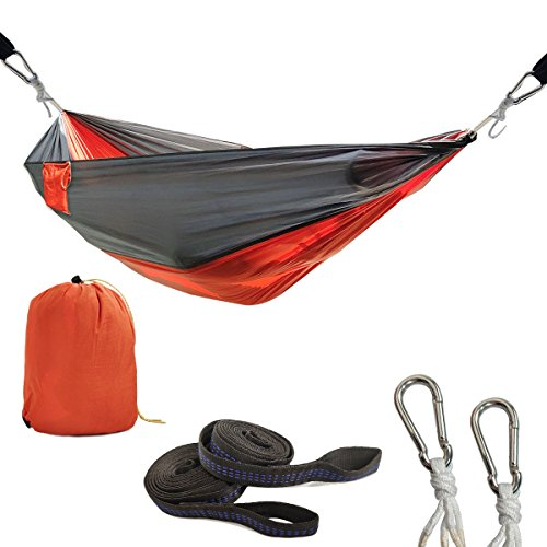 LETHMIK Outdoor Portable Camping Hammock, Travel Lightweight Nylon Hammock Easy Hanging Yard Backpacking Hiking Sleeping Orange&Grey