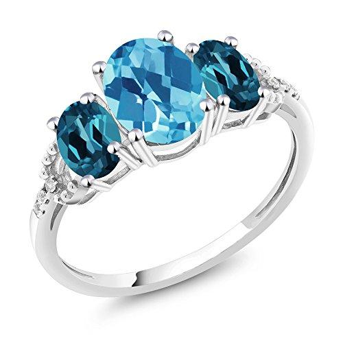 Gem Stone King 10K White Gold Diamond Accent 3-Stone Engagement Ring set with 2.35 Ct Checkerboard Swiss Topaz London Blue Topaz (Size 9) (Blue Diamond Wedding Ring Set)