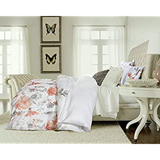 Cynthia Rowley Giacomo 3pc Duvet Cover Set Botanical Nature Wildflower  Branches Watercolor Floral Print Bedding (