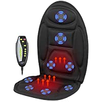 Mynt Vibrating Seat Massager with Heat and 8 Powerful Motors– for Back and Shoulders; FDA Approved, Effortlessly Improve Blood Circulation and Refresh Muscles – for Home, Office, Car, Garden, and more