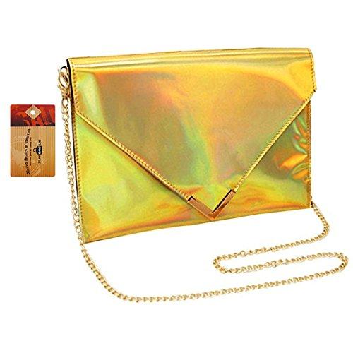 ZLM BAG US Women Fashion Hologram Laser Evening Clutch Girl Shiny PU Envelope Handbag Tote Purse Chain Shoulder Bag Gold (Envelope Style Convertible Clutch)