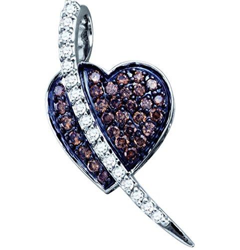 10kt White Gold Womens Round Cognac-brown Colored Diamond Heart Love Pendant 1/2 Cttw