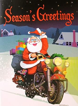 Seasons Greetings Santa Motorcycle Biker Christmas Holiday Boxed ...