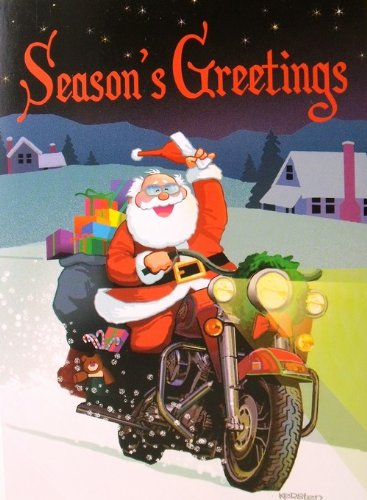 sugar tree seasons greetings santa motorcycle biker christmas holiday boxed cards - Biker Christmas