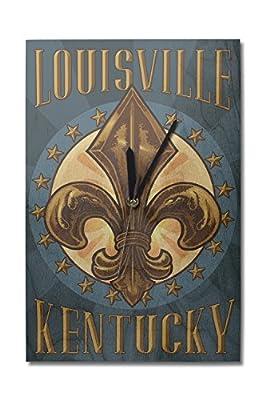 Louisville, Kentucky - Fleur de Lis (10x15 Wood Wall Clock, Decor Ready to Hang)
