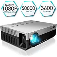 Projector, CiBest Upgraded Native 1080P Projector HD Video Movie LED Projector for Home Theater Entertainment Parties Games [2018 Newest Model]
