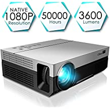 1080P Projector, CiBest Full HD True Native 1920 X 1080P Video Projector +80% Lumens Brightness Upgraded FHD Movie Projector for Home Theater Entertainment [2018 Newest Model]