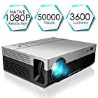 1080P Projector, CiBest Upgraded Native 1080P 3600 Lux Projector HD Video Movie LED