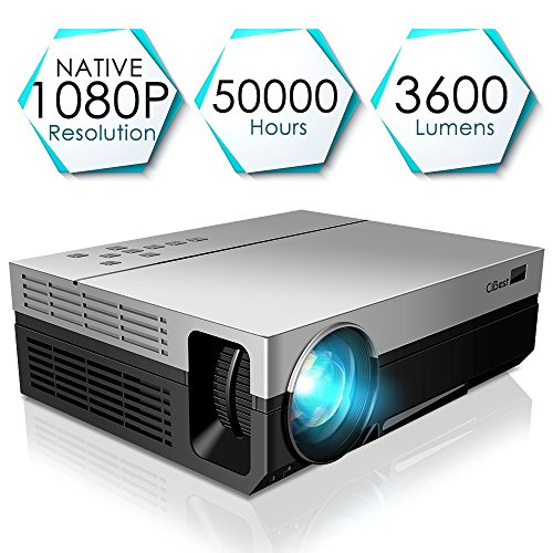 1080P Projector, CiBest Upgraded Native 1080P Projector HD Video Movie LED Projector for Home Theater Entertainment Parties Games [2019 Newest Model]