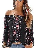 Asvivid Womens Bohemian Floral Printed Off The Shoulder T Shirt Casual Loose Blouses Tops L Black
