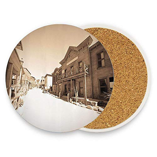 keyishangmaoLu Vintage Photo of far West Town Cowboy Village Historical Wooden Building Picture Pattern Coaster Ceramic Cork Trivet Heat Resistant Hot Pads Table Cup Mat Coaster 1 Piece]()