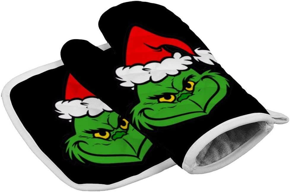 Tukiv Christmas Grinch Oven Mitts and Pot Holders Sets Heat Resistant Kitchen Gloves Non Slip Hot Pads
