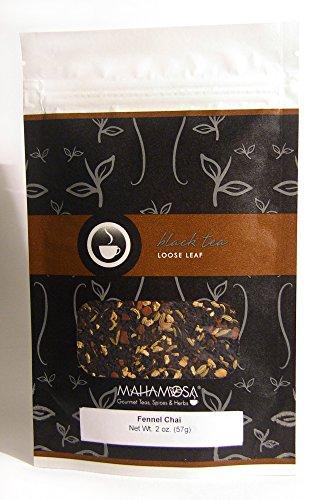 Mahamosa Black Chai Tea Loose Leaf (Looseleaf)- Fennel Chai Tea 2 oz (with ginger root, cinnamon, fennel seeds, sambuca flavor)
