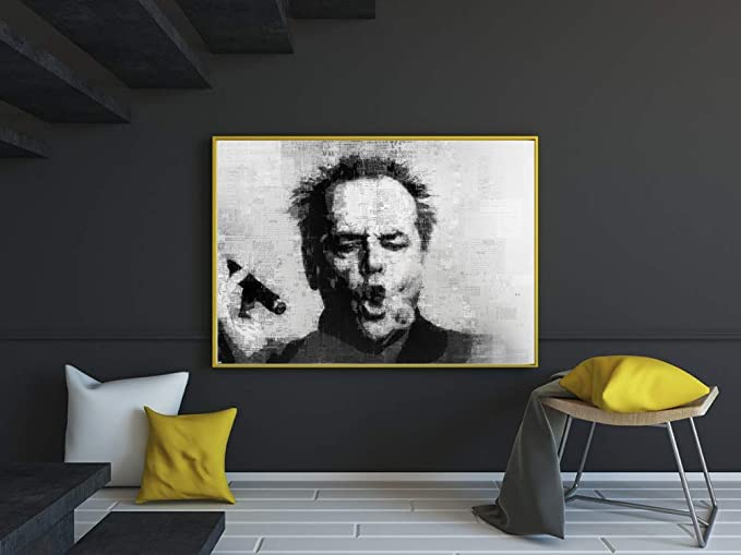 60x90cm No Frame wzgsffs Jack Nicholson Cigar Poster Wall Art Print Picture Black And White Canvas Painting for Living Room Modern Home Decoration