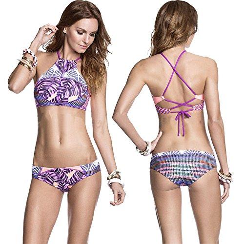 Hot Sale!!! Sexy Women Bandage Bikini Set Push-up Padded Bra Swimsuit Bathing Suit Swimwear (Purple, L)